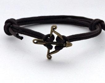 Arrow bracelet men, arrow cord bracelet, Cuff bracelet, Bronze arrow jewelry, bow and arrow bracelet, arrow cuff, bronze bow and arrow