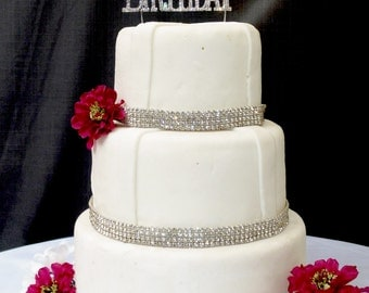 Large Sparkling Silver Rhinestone 50th Happy Birthday Cake Topper by Forbes Favors