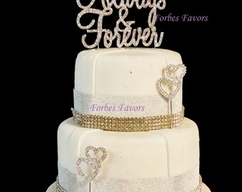 Real Rhinestone Always and Forever Silver Wedding Love Cake Topper By Forbes Favors