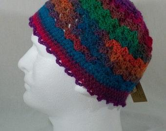 CROCHETED BEANIE CAP - Jewel-tones, Women's Medium