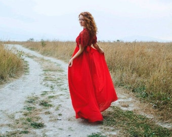 Red lace dress, red dress, red prom dress, red maxi dress, long red dress, red wedding dress.