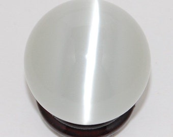 FREE SHIPPING!0White Cat's Eye Crystal Sphere Ball Gemstone  + Stand