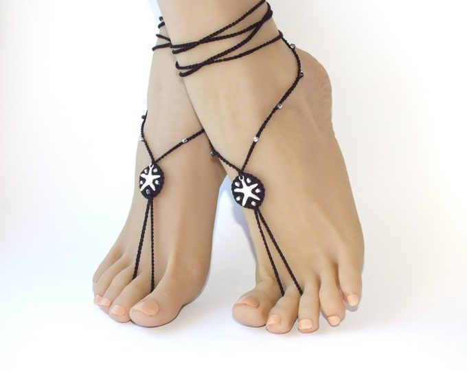 Black barefoot sandals Nude shoes sexy jewelry