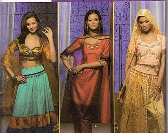 India Middle Eastern Sewing Pattern Simplicity 4249 Gypsy Harem Belly Dancer Cosplay Plus Size 14-16-18-20