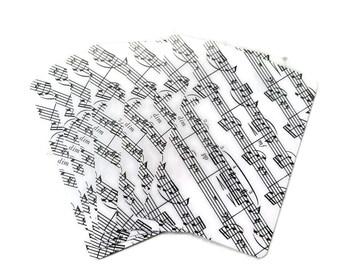 1986 Sheet Music Playing Cards Musical Notes Black & White Singer Songwriter Musician Gift