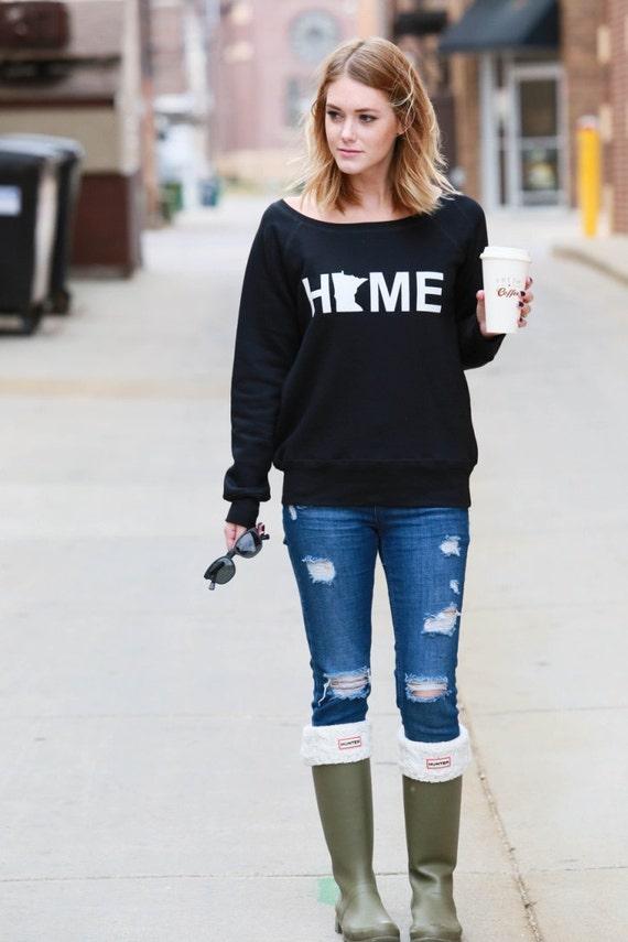 HOME - Minnesota - Sweatshirt - Wide Neck Sweatshirt - BLACK