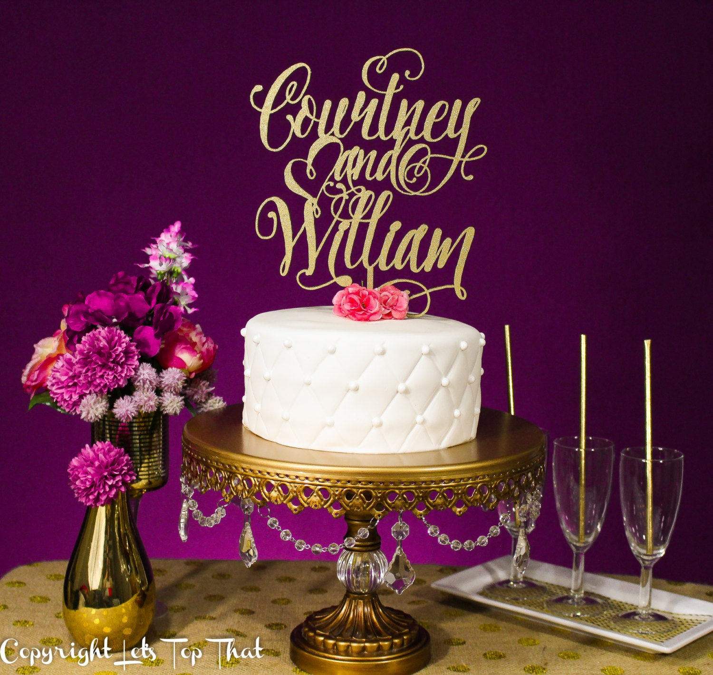 Wedding Cake Topper Custom Name Gold or Silver Metallic