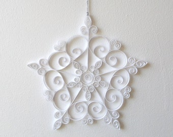 White Paper Snowflake, 7in Paper Quilled Snowflake, Christmas Snowflake, Christmas Ornament, Quilled Christmas Decoration, Paper Quilling