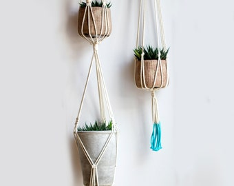 Dip dyed macrame plant hangers, set of 2,