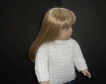 White Textured Rib Sweater  for American Girl doll