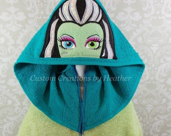 Frankie from Monster High Inspired Hooded Towel on High Quality Belk Department Store Towels