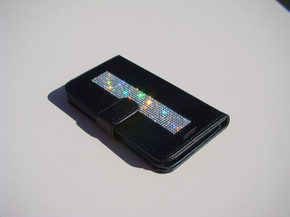 """Galaxy S6  """" Edge """" Clear Diamond Rhinestone Crystals on Black Wallet Case. Velvet/Silk Pouch bag Included, Genuine Rangsee Crystal Cases."""
