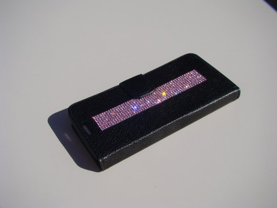 "Galaxy S6  "" Edge "" Pink Rhinestone Crystals on Black Wallet Case. Velvet/Silk Pouch bag Included, Genuine Rangsee Crystal Cases."