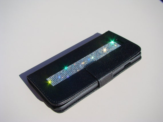 iPhone 6 Plus / 6s Plus Clear Diamond Crystals on Black Wallet Case. Velvet/Silk Pouch bag Included, Genuine Rangsee Crystal Cases.