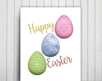 Happy Easter Print, Printable Easter Glitter Egg Art Gift Card, Glitter Easter Egg Decor, Colorful Print Easter Art, Egg Print, Easter Image