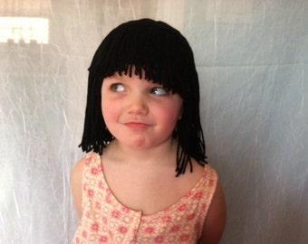 Short Black wig, Cleopatra costume, Costume wig, Cleopatra wig, Flapper costume, Kids wigs, wigs for adults, yarn wigs, Halloween costume
