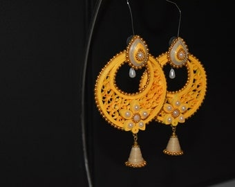 Yellow quilled earrings