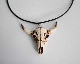 Cow Skull Necklace, Polymer Clay, Realistic Animal Skull, Bones/Horns Earrings