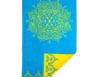 FREE SHIPPING Vintage Mandala Namaste Meditation Accessory Yoga Home Decor Hand Towel is Sky Blue