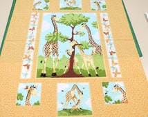 Giraffe panel of fabric. Susybee Zoe yellow child baby boy girl quilt quilting cotton jungle safari zoo