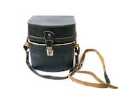 Vintage Leather Camera Lens Bag Case, Leather Shoulder Camera Bag, black evening bag, vintage shoulder bag, vintage women's bag