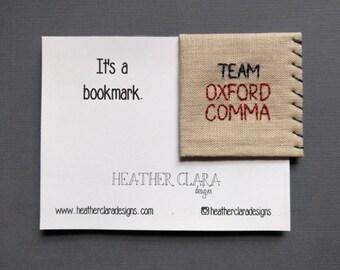 Hand Embroidered Linen Corner Bookmark - Team Oxford Comma
