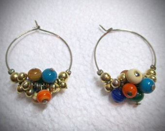 Vintage Hoop Earrings for Pierced Ears Colored Balls 1970