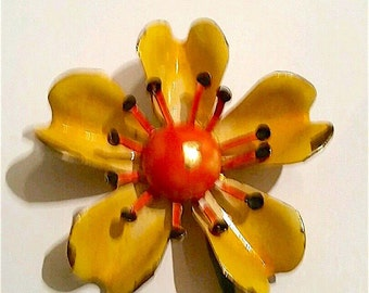 Delightful Vintage Signed ORIGINAL by ROBERT Enamel Flower BroochYellow Orange