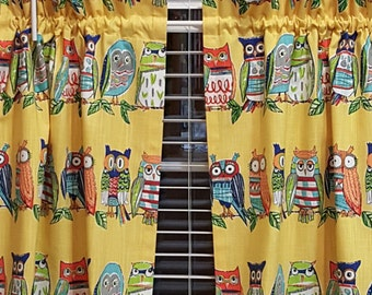 Owl Cafe curtains -  2 panels/ Tiers - Valance sold seperately / Kitchen, Bath, Laundry, Bedroom, Sunroom