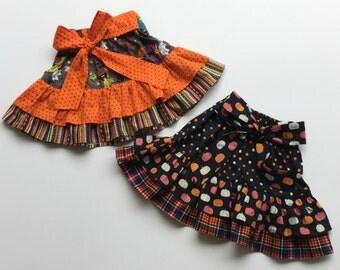 HALLOWEEN Madalyn Double Ruffle Skirt - Girls Clothing, Toddler Girl Clothing, Skirt