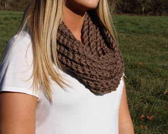 Taupe Brown Infinity Scarf
