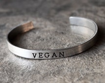 Vegan Bracelet, Vegetarian Vegan Jewelry, Animal Lover, Eat Vegetables, Inspirational Positive Jewelry Skinny Cuff Bracelet