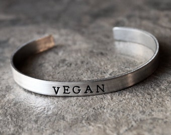 Vegan Bracelet, Vegetarian Vegan Jewelry, Animal Lover, Eat Vegetables, Inspirational Positive Jewelry Skinny Cuff Bracelet