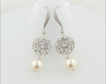 Simple wedding earrings - bridal earrings - bridesmaid earrings - bridal party earrings - simple drop earrings - Crawford earrings