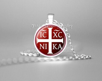JESUS CHRISTOGRAM NECKLACE Christian Necklace Crucifix Christian Gifts Religious Gifts Gift Jesus Necklace Spiritual Necklace Crucifix Red
