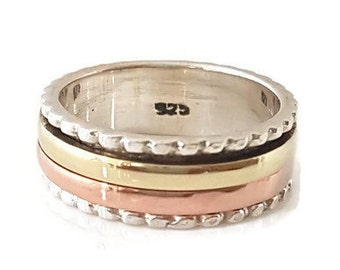 Spinner Ring Narrow Silver with Brass/Copper , Narrow Spinner Ring, Multi Metal Spinner Ring, Meditation Spinner Ring, Mistry Gems, SP34