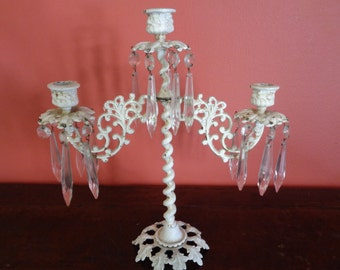 Vintage  3 Light White Metal Crystal French Shabby Chic Candelabra Candle Holder