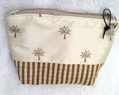 Trees and Stripes on Off White and Stripes Zlippered Pouch  7.5 w x 9 h x 1.75 d with Gray Water Repellent LIning