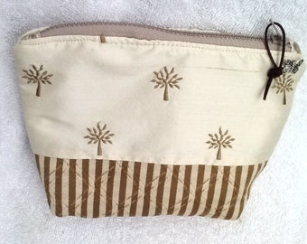 Trees Pouch,  7.5 x 9 x 1.75, Trees Zipper Pouch, Trees with water repellent lining pouch, Trees makeup Bag, Trees Zipper Bag, cosmetic bag