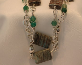 African jasper necklace,clear green agate beads silver hand made chain,