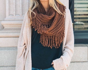 Chocolate Brown Lattice & Tassel Infinity Scarf
