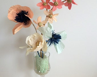 hand made paper flower centerpiece, Roses / poppies / daisies / apple blossom's
