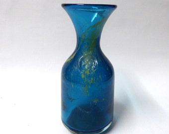 Mdina 'Sea and Sand' art glass bottle vase/carafe, 70s retro vintage, Michael Harris, Malta. With Maltese cross seal stamp. Teal blue/gold