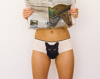 Experienced fighter - black cat underwear by Lickstarter pussycat panties. Kinky gift for her