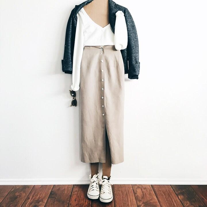 vintage khaki high waisted skirt khaki midi skirt