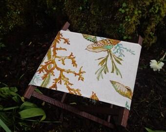 Wood and fabric folding camp stool