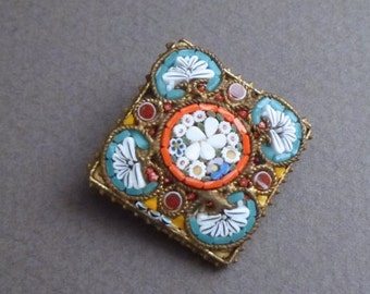 Antique  square micro Mosaic pin