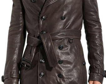 Mens belted leather trench coat, men brown trench coat