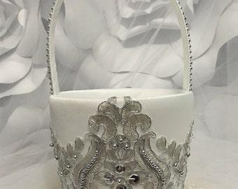 Flower girl basket/silver flower girl basket/ring pillow/ring bearer/ring bearer pillow/silver ring pillow