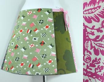Vintage Upcycled Wrap Skirt- Pink Midi Summer Skirt- Patchwork Wrap Skirt- Vintage Repurposed Clothing- Mid Length Wrap- Summer Dress Skirt